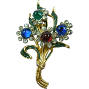 1930's Gold Plated and Pot Metal Floral Fur Clip
