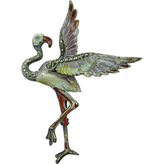 Signed 800 Silver Enameled Marcasite Flamingo Brooch