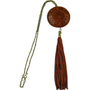 Dramatic Red Cinnabar Lacquer Pendant Necklace with Extra Long Tassel