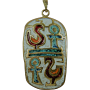 Egyptian Revival Enameled Brass Pendant with Extra Long Chain