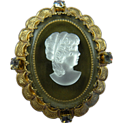 West Germany Glass Cameo Brooch with Filigree Setting