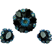 Rhinestone Brooch with Rivoli Stones and Matching Clip Earrings