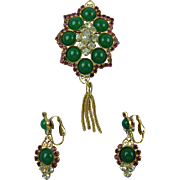 DeLizza & Elster Juliana Jewelry Brooch and Matching Clip Earrings