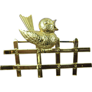 Sterling Brooch Signed Forstner Bird on a Fence