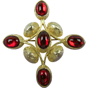Enormous Jeweled Maltese Cross Brooch