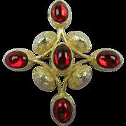 Enormous Jeweled Maltese Cross Brooch