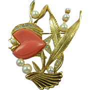 Fabulous Fish Brooch with Imitation Pearls