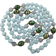 Milky Amethyst and White Agate Beaded Necklace with Cloisonne