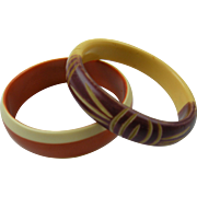 Pair of Carved and Dyed Bangles