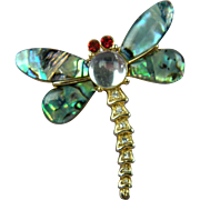 Abalone and Lucite Dragonfly Brooch
