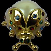Signed MARVELLA Imitation Pearl Bug Brooch