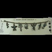 1950's Native American Motifs Charm Bracelet on Original Card
