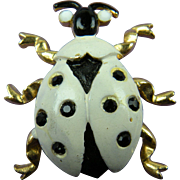 Signed WEISS Enameled Bug Brooch