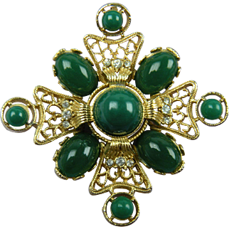 Huge Maltese Cross Brooch with Green Cabochons