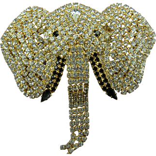 Enormous Jeweled Elephant Brooch with Movable Trunk