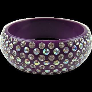 Sparkling Purple Bangle with Aurora Borealis Chatons
