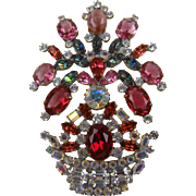 Extra Large Flower Pot Brooch with Rhinestones Book Reference
