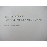 1996 Sotheby's Catalog for the Estate of Jacqueline Kennedy Onassis Sale April 23-26, 1996