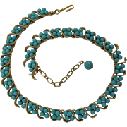 Signed TRIFARI 1950's Adjustable Style Necklace with Imitation Turquoise Beads