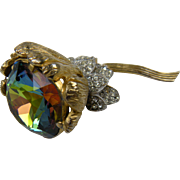 Huge Flower Brooch with Brilliant Watermelon Stone