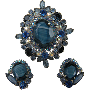 DeLizza and Elster Cobalt Blue Givre Brooch with Matching Clip Earrings Book References