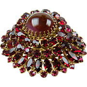 Signed AUSTRIA Ruby Red Rhinestone Brooch