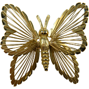 Signed MONET Gold Plated Spinnertte Butterfly