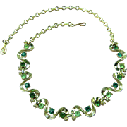 Signed CORO 1950's Necklace with Rhinestones