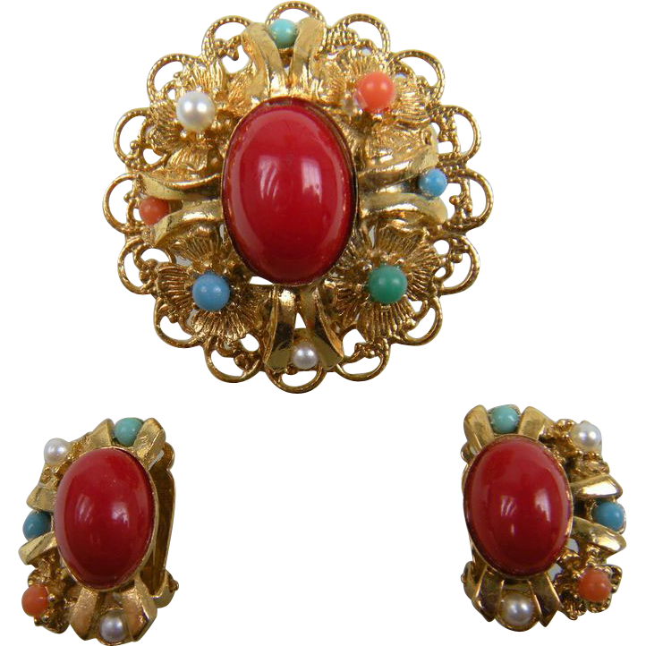 Colorful Cabochon Brooch with Matching Earrings
