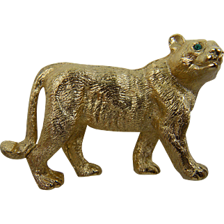 Signed NAPIER Big Cat Brooch