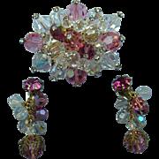 Lovely Czech Brooch with Earrings, Married Set