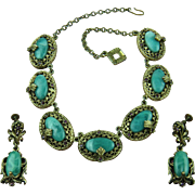 Unsigned Selro Necklace with Matching Earrings