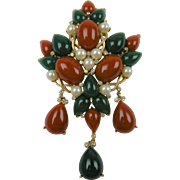 1960's Signed TRIFARI Jewels of India Huge Brooch Kashmir Collection
