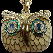 Signed Kenneth Lane Owl Pendant Necklace