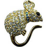 House Mouse Brooch with Pave' Rhinestones Signed Joan Rivers