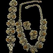 Wood Grain Acorn Necklace, Bracelet, and Matching Earrings Parure