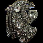 Signed Eisenberg Huge Diamante Brooch