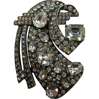 Signed Eisenberg Huge Diamante Brooch