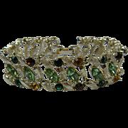Colorful Mid-Century Rhinestone Bracelet Unsigned