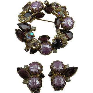 Mauve and Garnet Colored Rhinestone Wreath Brooch with Matching Earrings