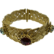 Early Woven Bracelet with Colorful Chatons