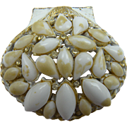 White Washed Clam Brooch with Marbled Stones