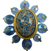 Signed Joan Rivers Crystal and Imitation Opal Brooch