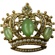 Colorful Crown Brooch with Moonstone Cabochons