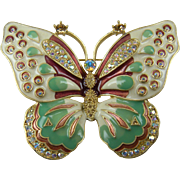 Signed Kenneth Jay Lane Colorful Butterfly Brooch