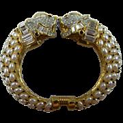 Rare 1960's  Signed Kenneth Lane Enameled and Jeweled Foo Dogs Bracelet