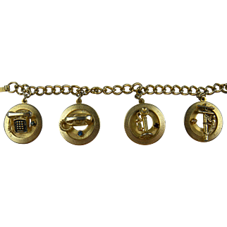 Whimsical 1950's Telephone-Themed Charm Bracelet
