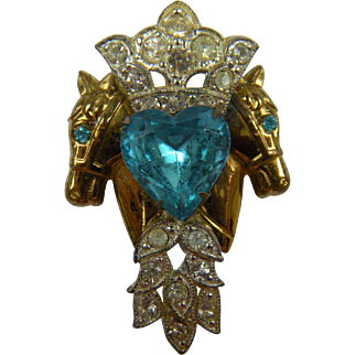 1940's Double Horse Head Brooch with Large Aquamarine Glass Stone