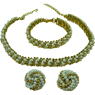 Signed Hobe' 1950's Parure with Necklace, Bracelet, and Clip Earrings