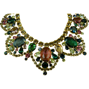Signed GRAZIANO Colorful and Elegant Bib Style Necklace